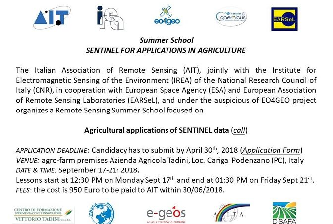 Summer School SENTINEL FOR APPLICATIONS IN AGRICULTURE